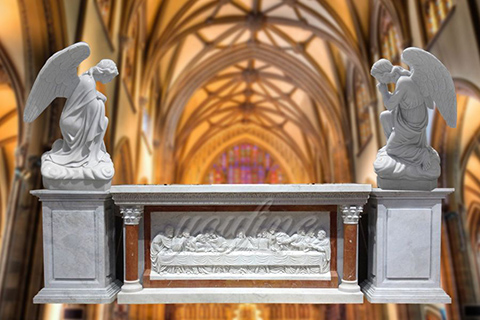 Hand carved Marble Church Altar Designs with Angel Statues