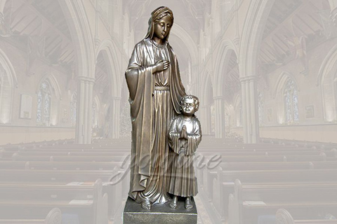 Antique life size religious bronze Mary and Jesus statues for church