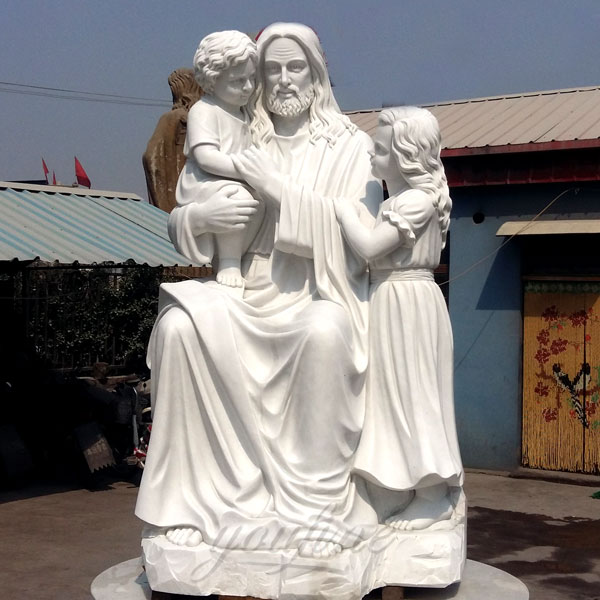 Religious outdoor garden decor marble giant jesus with children statues suppliers
