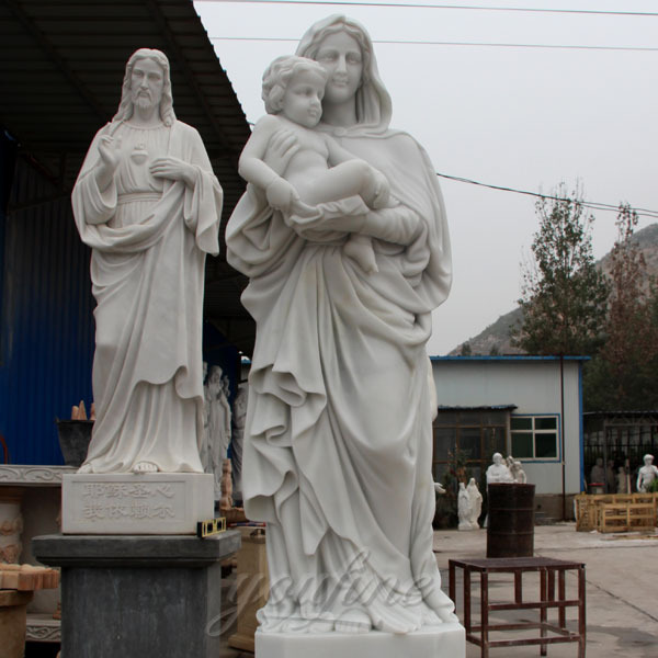 White Marble Church Sculptures of Mary and Baby Jesus Statue for Sale