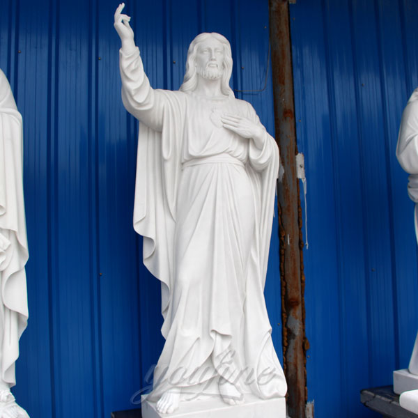 Cheap Design Stone White Marble religious tall Jesus Statue for home garden