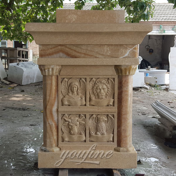 Religious statues of beige marble pulpit for church decor