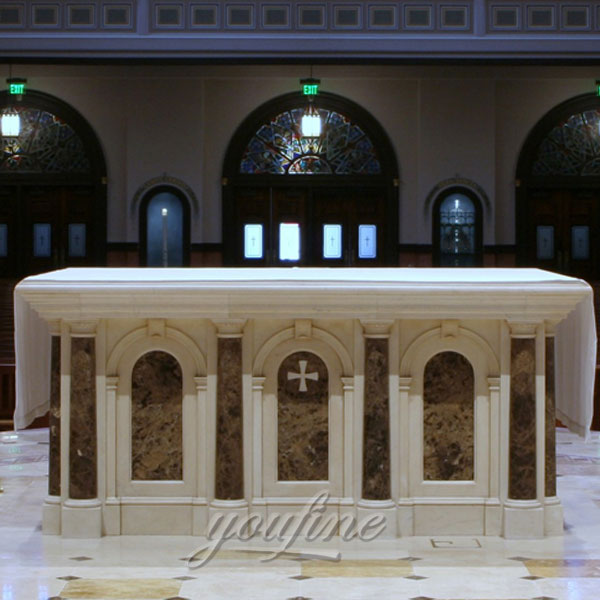 Large Indoor Western Classic Hand Carved White Marble Altar Stand for Sale