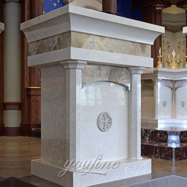 Religious statues of modern marble altar for church decor