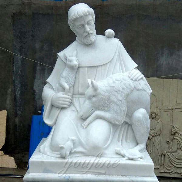 Religious white marble sculptures of St. Francis for sale