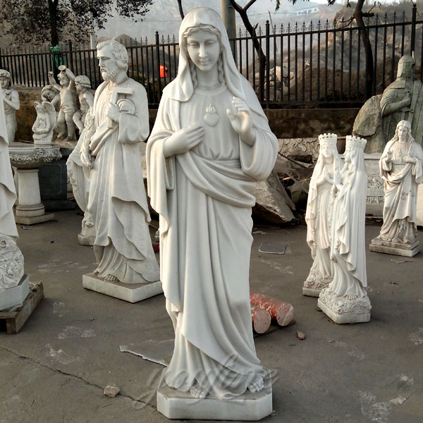 life size marble carving sacred heart mary statues for sale