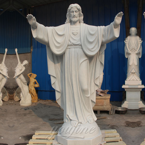 Large sacred heart jesus statues made of white marble for sale