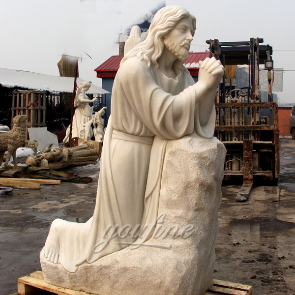 Customized pure white marble church sculpture of Jesus prays in the Manichan Garden statue for Australian clients