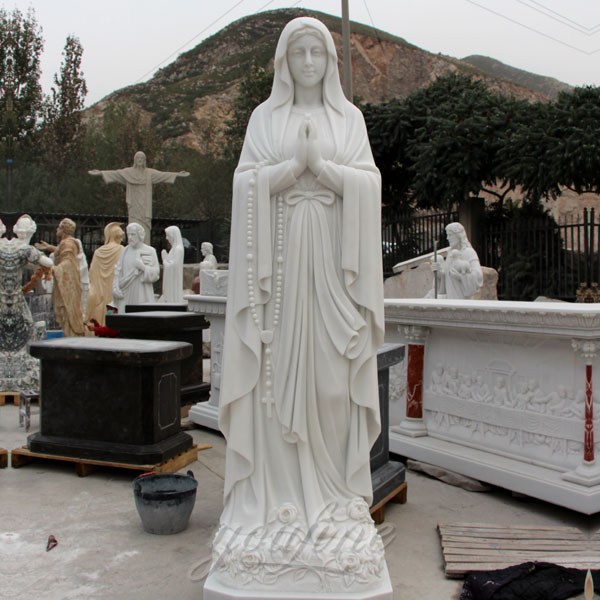 Outdoor marble religious our lady of Lourdes statue on discount sale for church decoration