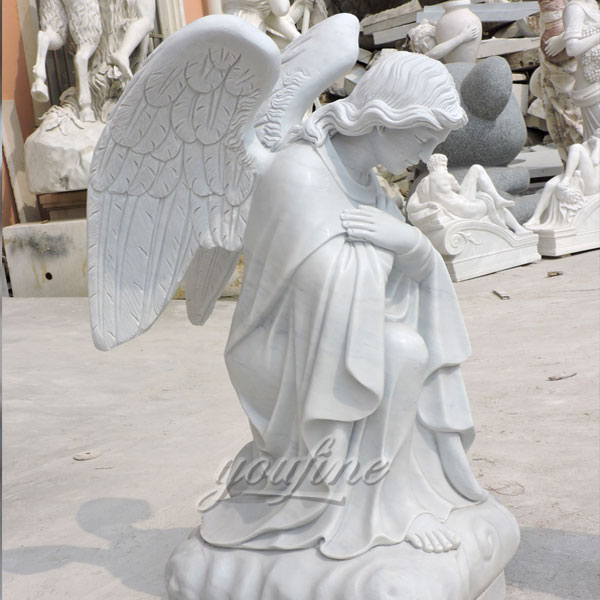 Customized life size marble kneeling angel statues in pairs made for Canada client
