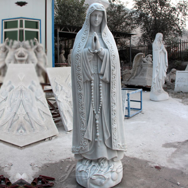 Outdoor Life Size Virgin Mary Statue White Marble Church Sculpture for Sale CHS-263