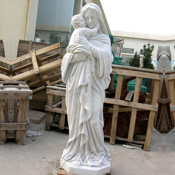 Life Size Hand Made Mary with Baby Jesus Religious Marble Statue for Sale CHS-268