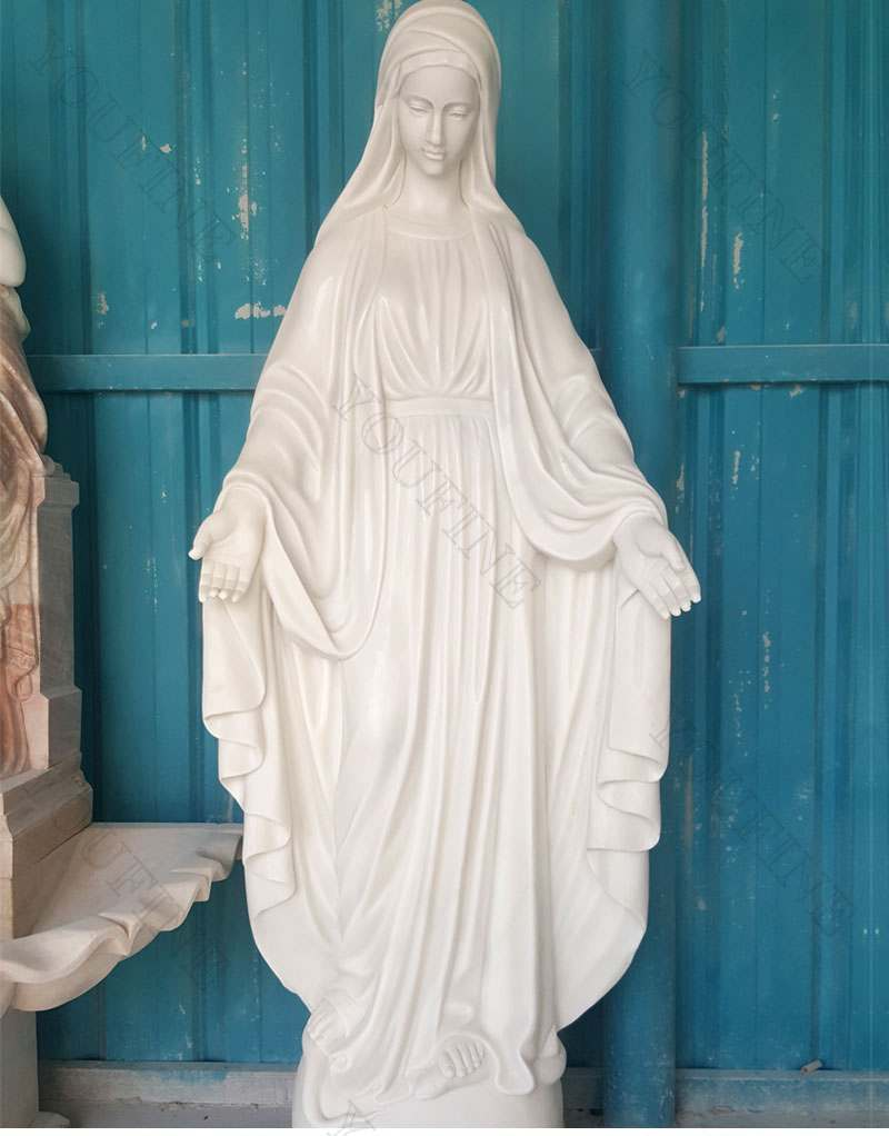 Life Size Religious Marble Virgin Mary Statue Church Decoration