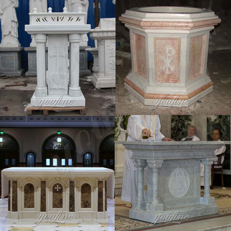 Catholic Hand Carved Church Marble Altar Table