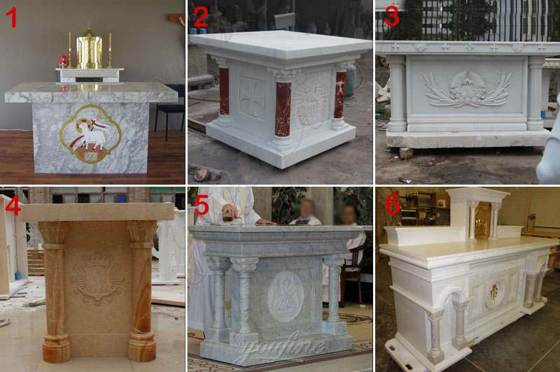 Catholic Religious Hand Carved Church Marble Altar Table