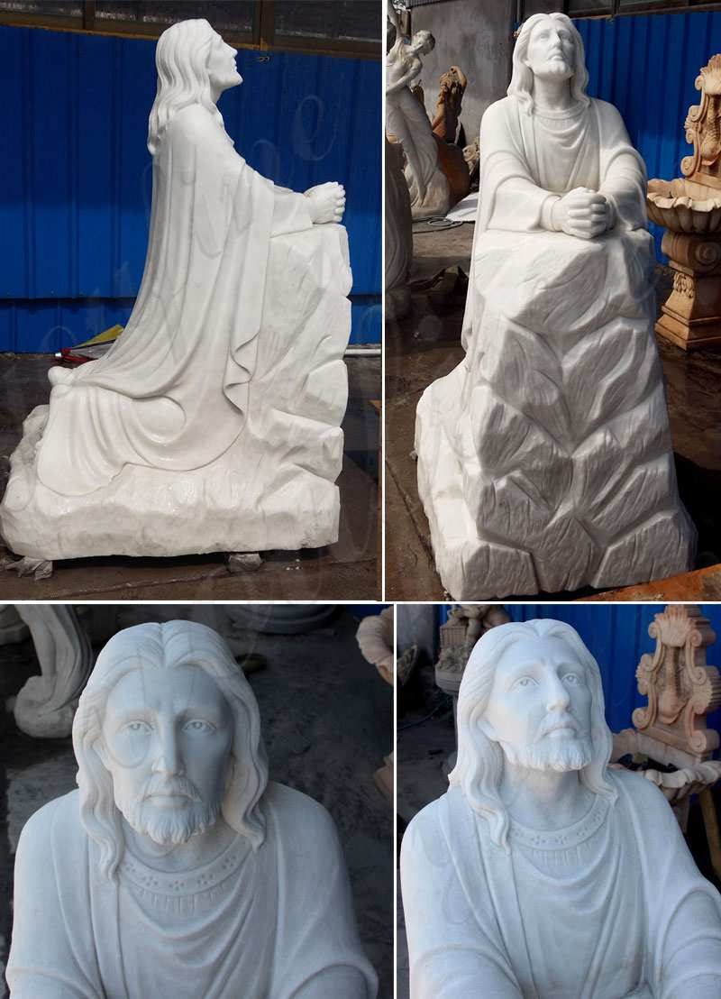 Life Size Christ Jesus Praying and Kneeling Statue Home Decoration