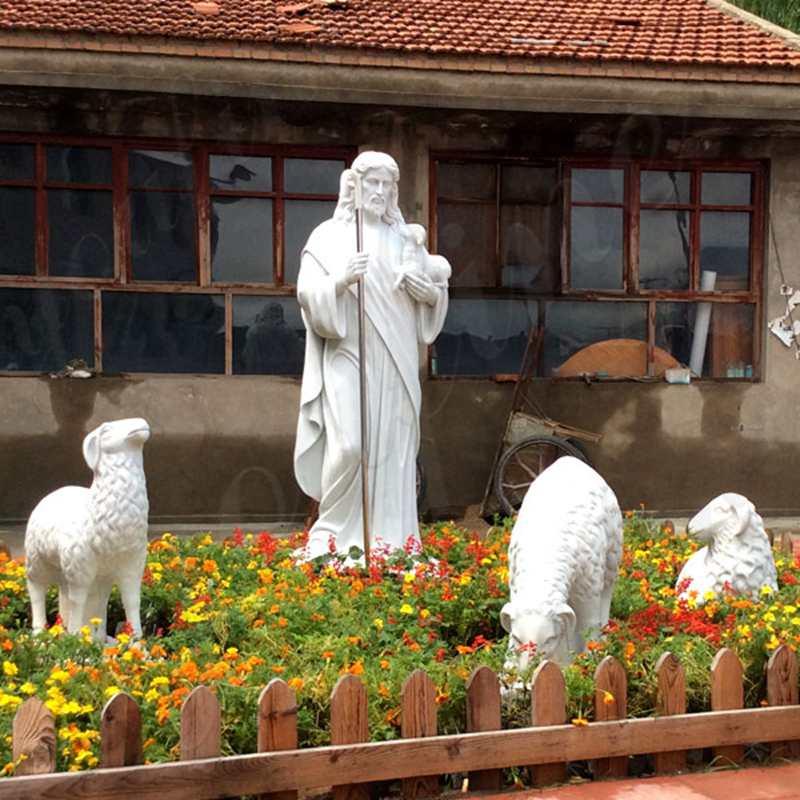 Marble Statue of the Good Shepherd Jesus Garden Sculpture