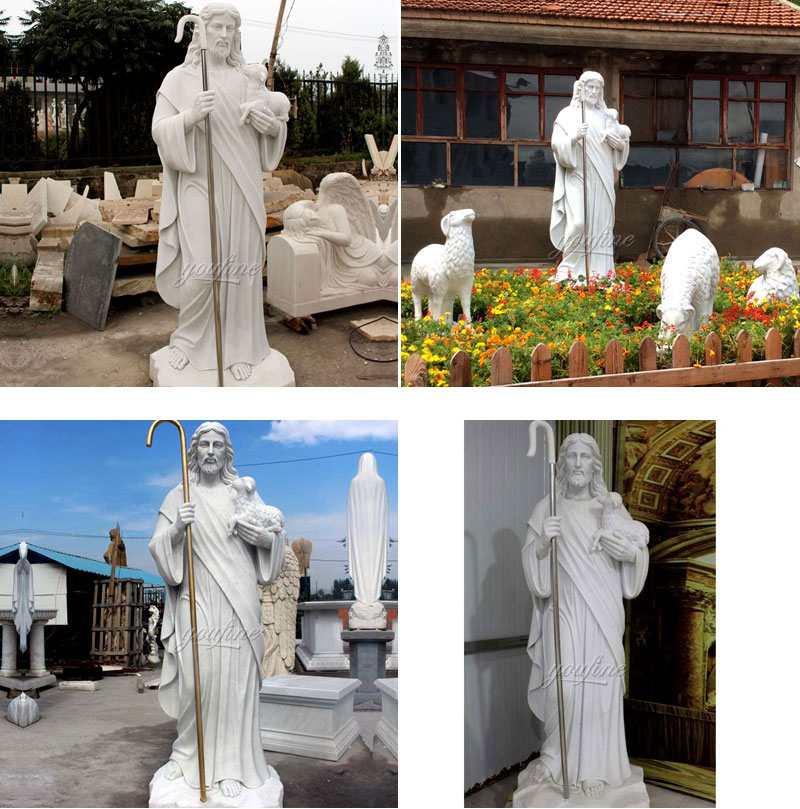 Marble Statue of the Good Shepherd Jesus Garden Sculptures