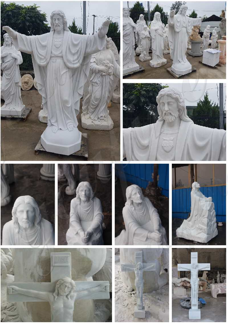 Marble Statue of the Good Shepherd Jesus for sale