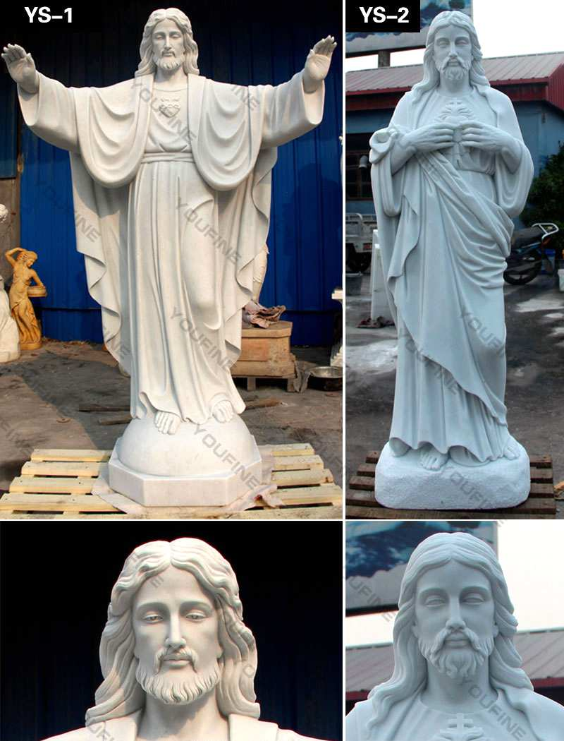 Outdoor Life Size Catholic White Marble Church Jesus Statue CHS-608