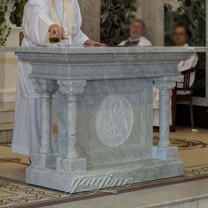 Religious Hand Carved Church Marble Altar Table CHS-325