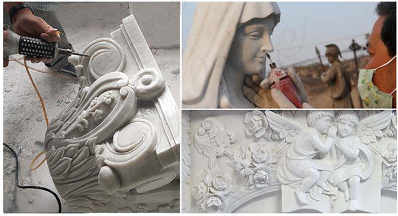 process of Outdoor Catholic Mary and Baby Jesus Marble Statue
