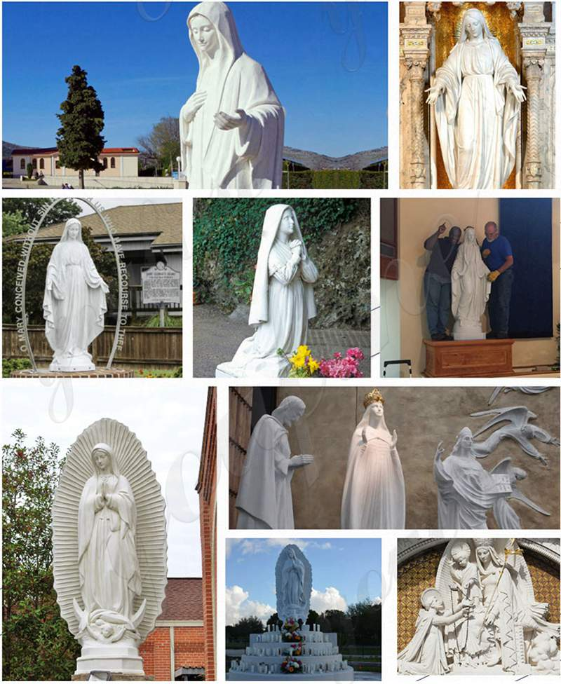 Life Size Marble Lourdes Statue for Church Decor
