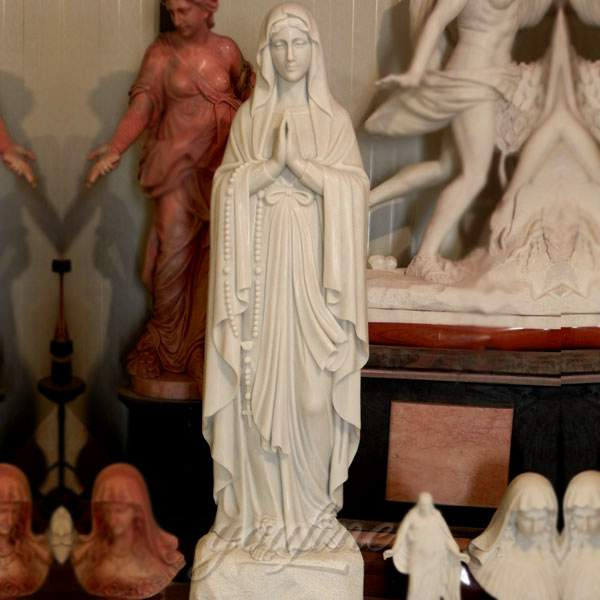 Life Size White Marble Lourdes Statue for Church Decor Stock