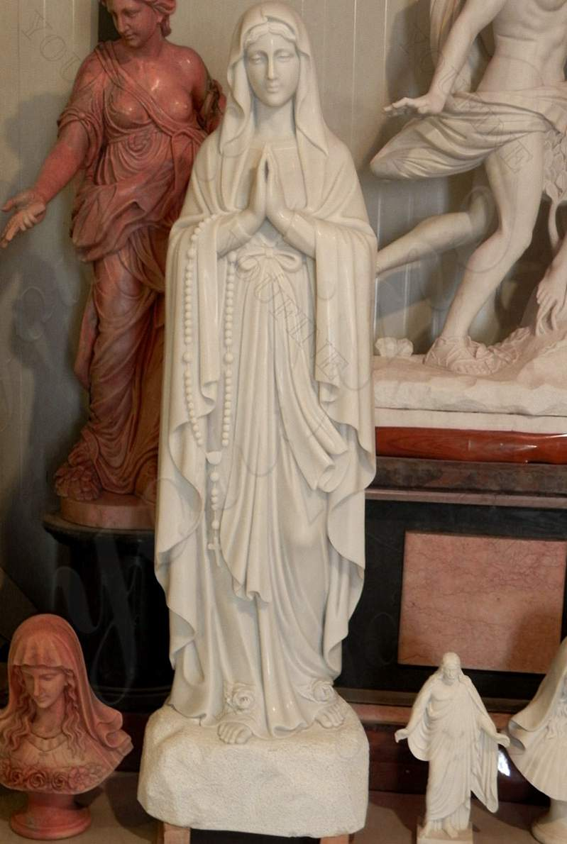Life Size White Marble Lourdes Statue for Church Decor