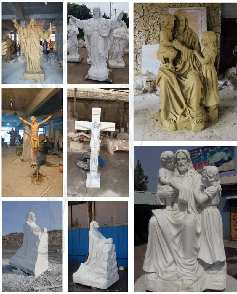 Outdoor Jesus with Children Marble Statue Garden Decor Wholesale