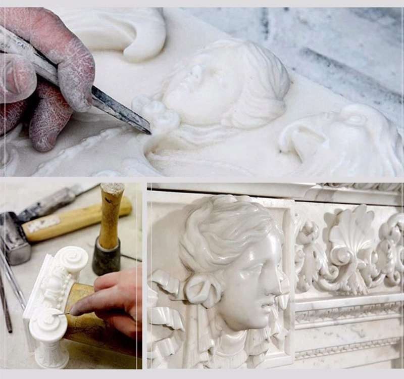 process of Life Size White Mary Marble Statue