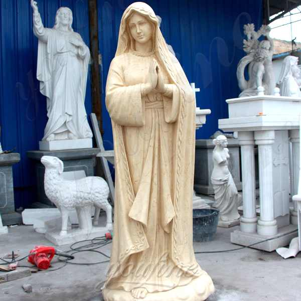 Life Size Beige Marble Our Lady of Lourdes Statue for Sale