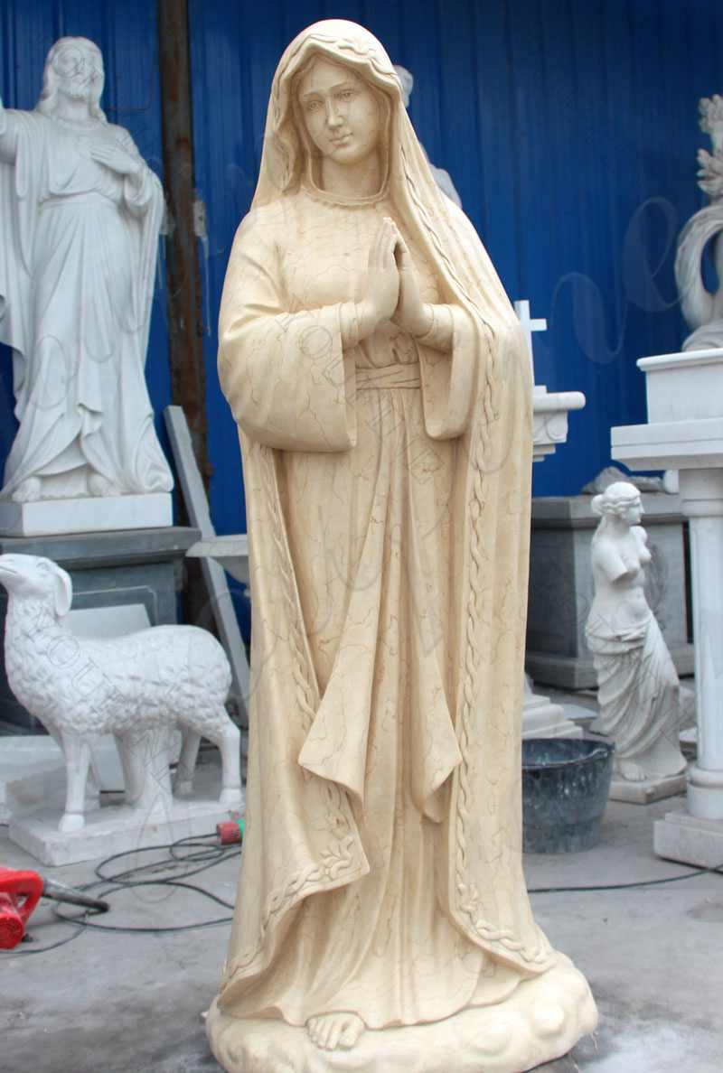 Life Size Beige Marble Our Lady of Lourdes Statue
