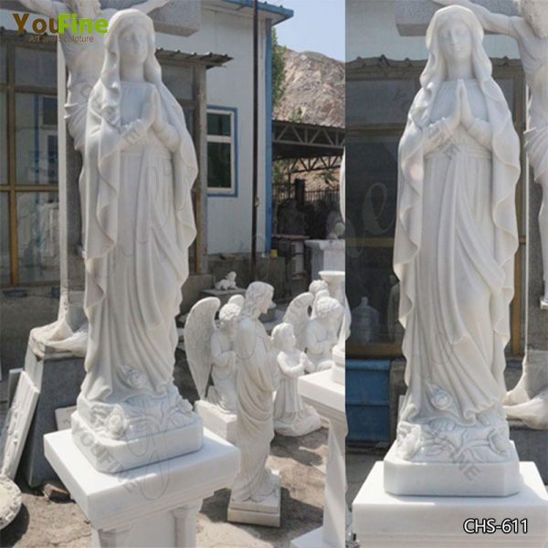 Life Size Statue in Marble of Our Lady of Mary on Sale