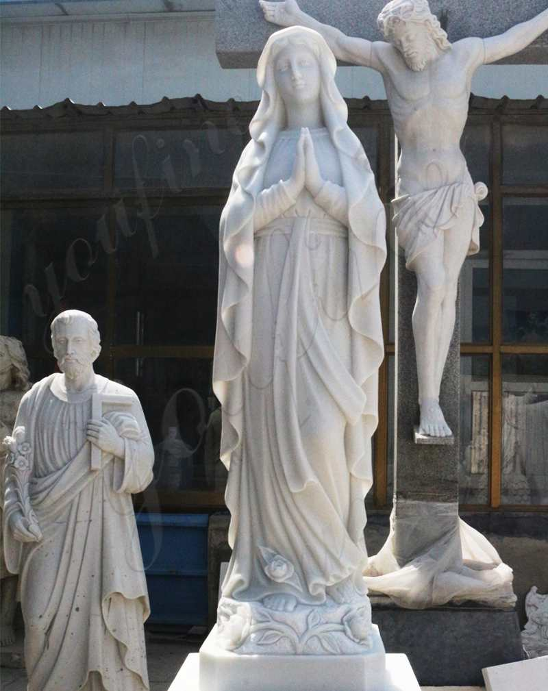 Statue in Marble of Our Lady of Mary on Sale