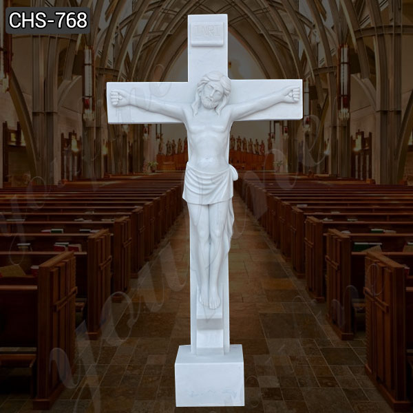 Crucified Jesus Marble Statue for Church Supplier