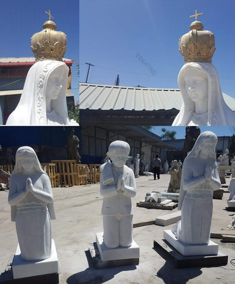 Our Lady of Fatima with Three Children Garden Statue for Sale