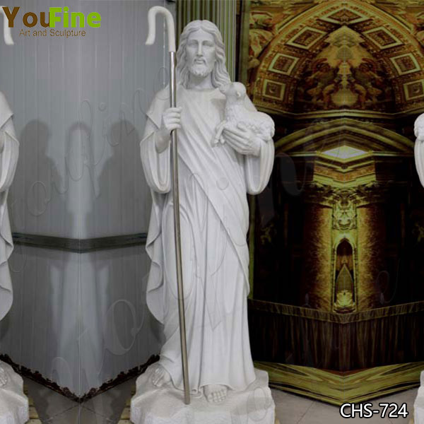 Life Size Marble Jesus with Lamb Sculpture from Factory Supply
