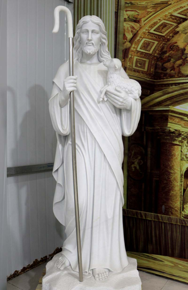 Life Size Marble Jesus with Lamb Sculpture
