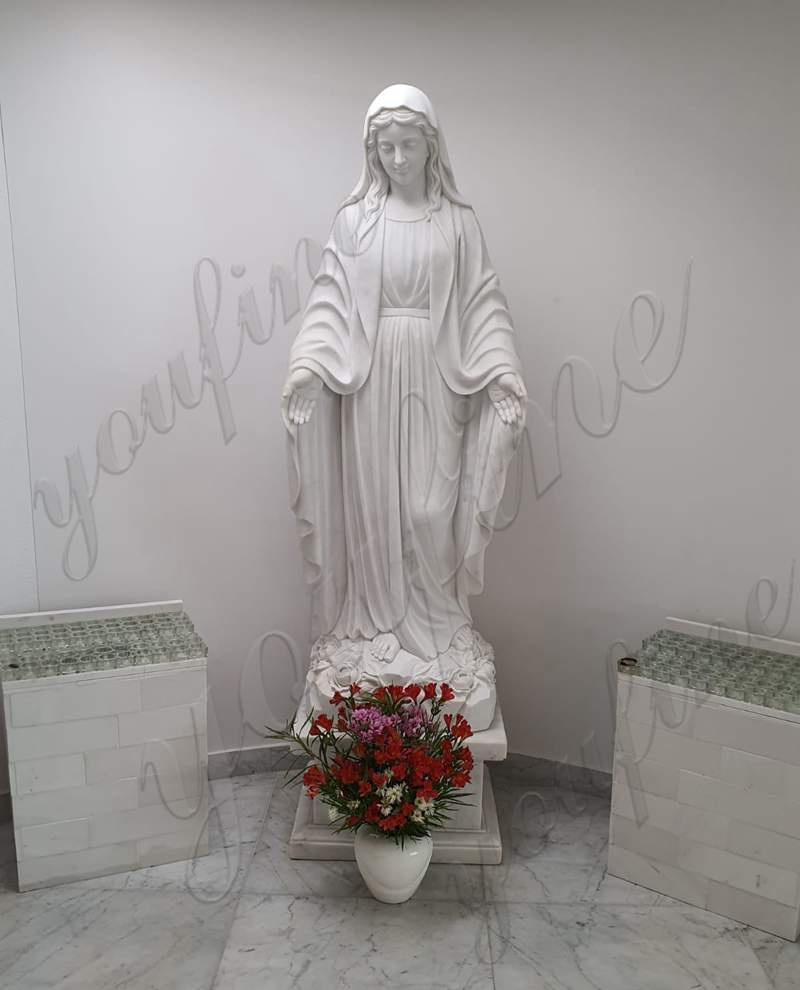 White Marble Mary Statue Feedback from Our Customer
