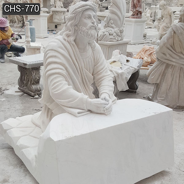 Garden Decoration Jesus Praying Marble Statue Church Suppliers