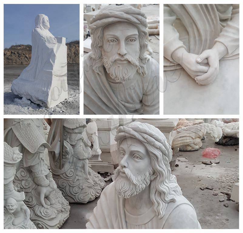 Garden Decoration Jesus Praying Marble Statue details