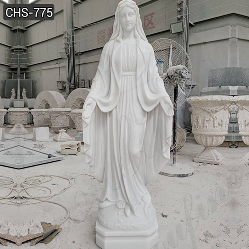 Lige Size Religious White Marble Mary Sculpture for Sale CHS-775