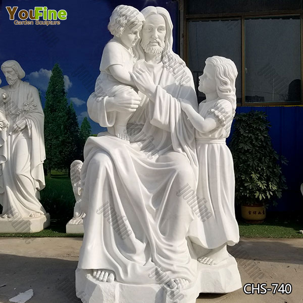 Hand Carved Jesus with Children Statue in Marble for Sale
