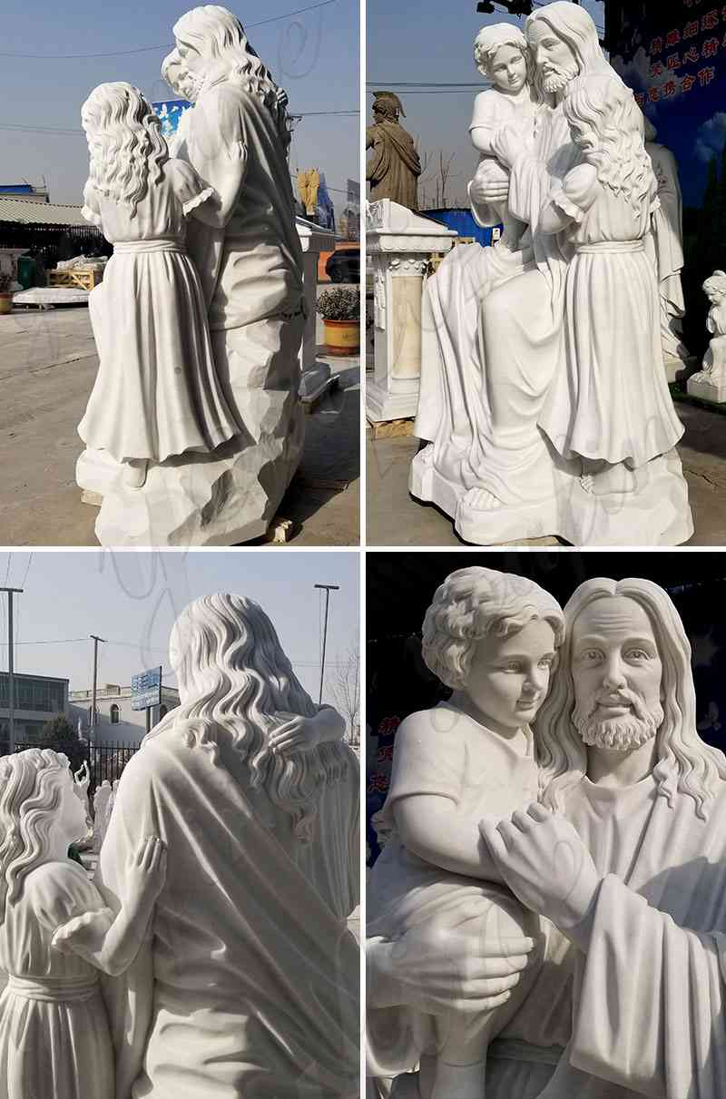 Hand Carved Jesus with Children Statue in Marble