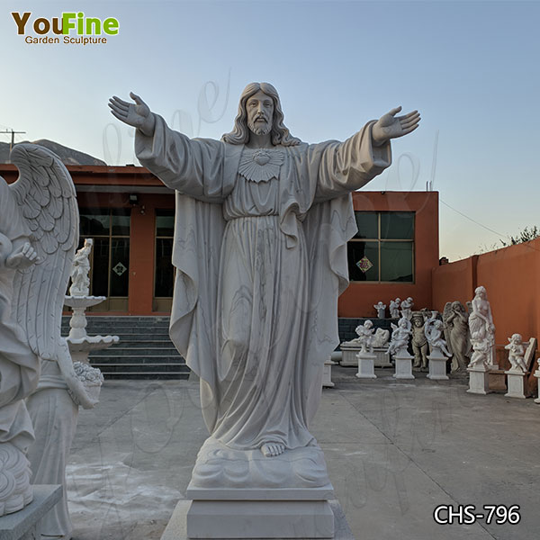 Large Classic Marble Jesus Statue with Hands Open from Factory Supply