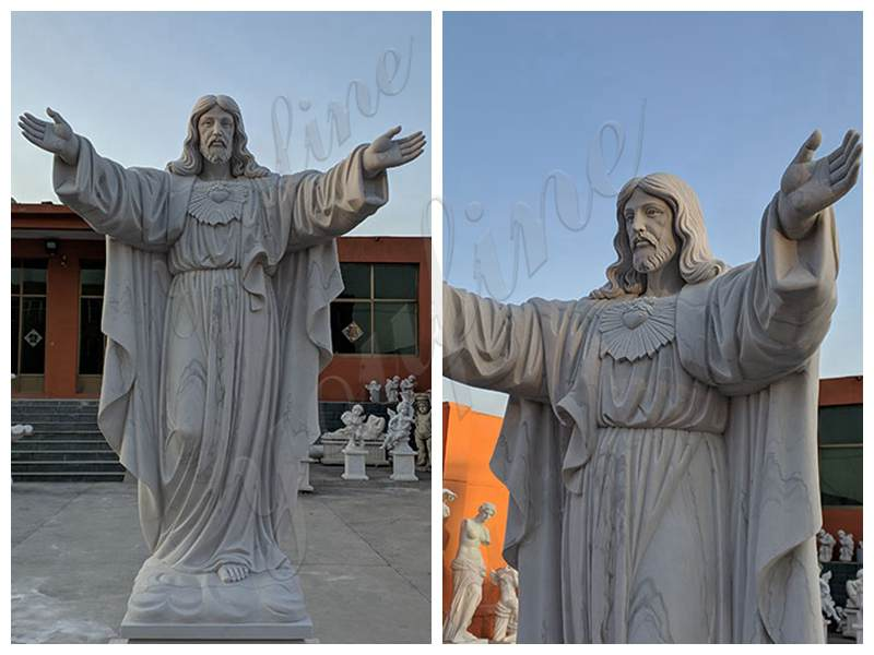 Large Classic Marble Jesus Statue with Hands Open