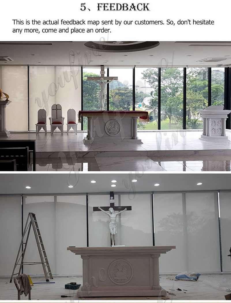 Life Size Modern Church Marble Altar Table