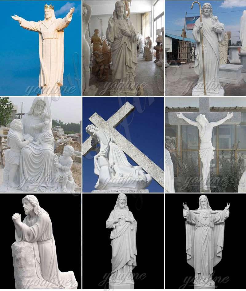 Marble Jesus Statue with Hands Open