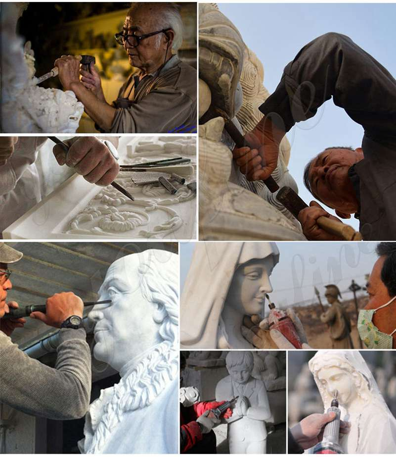 process of Praying Virgin Mary Marble Statues